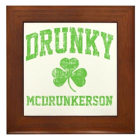Drunky -green Framed Tile