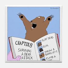 Surviving A Bear Attack Tile Coaster