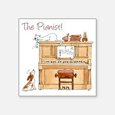 "The  Pianist Square Sticker 3"" x 3"""
