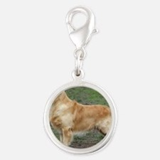 Golden Retriever 9Y186D-072 Silver Round Charm