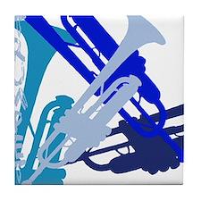Trumpet vertical on black Tile Coaster