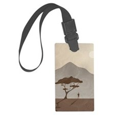 African Scene with Tribesman Large Luggage Tag