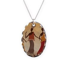 African Women Necklace Oval Charm