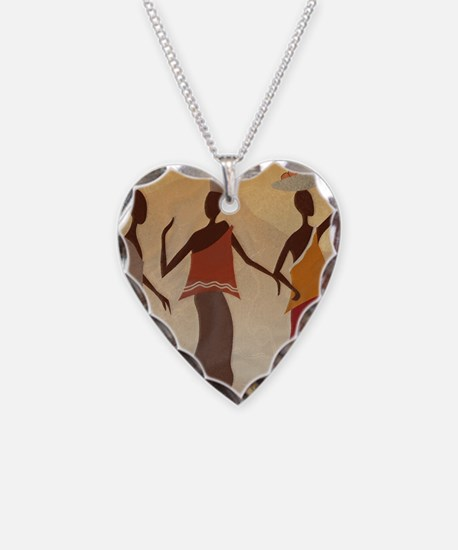 African Women Necklace Heart Charm