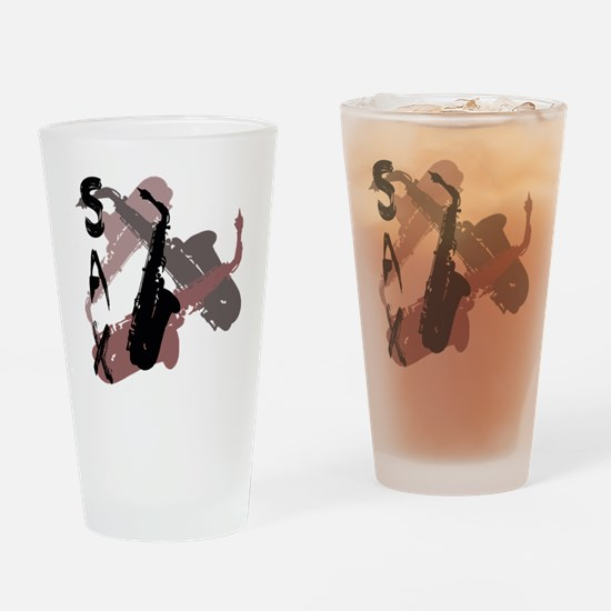 Graphic Sax Drinking Glass
