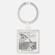 When Antelope Get Tagged Square Keychain