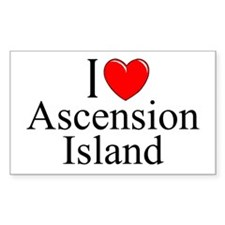 """""""I Love Ascension Island"""" Rectangle Decal"""