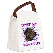 lovin_choc lab_dark Canvas Lunch Bag