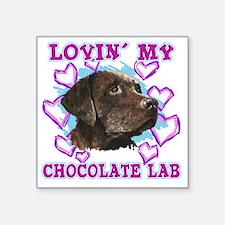 "lovin_choc lab_dark Square Sticker 3"" x 3"""