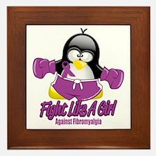 Fibromyalgia-Fighting-Penguin Framed Tile