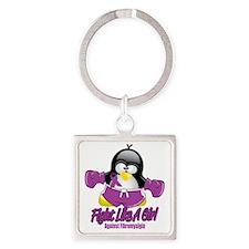Fibromyalgia-Fighting-Penguin Square Keychain
