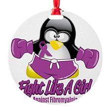 Fibromyalgia-Fighting-Penguin Round Ornament
