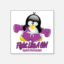 "Fibromyalgia-Fighting-Pengu Square Sticker 3"" x 3"""