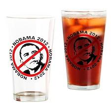 nobama blk Drinking Glass