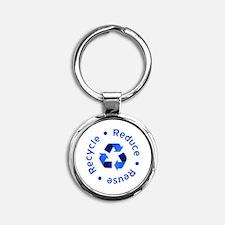 recycle4TBlue Round Keychain