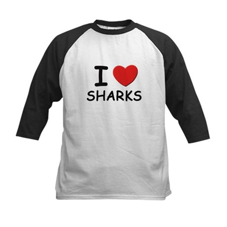 I love sharks Kids Baseball Jersey