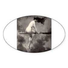 Victorian Risque Witch on Broomstick Decal