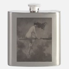 Victorian Risque Witch on Broomstick Flask