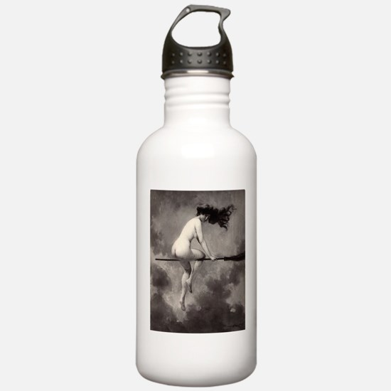 Victorian Risque Witch on Broomstick Water Bottle