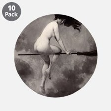 """Victorian Risque Witch on Broomstick 3.5"""" Button ("""