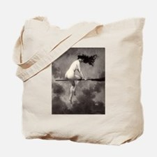 Victorian Risque Witch on Broomstick Tote Bag
