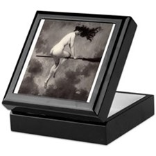 Victorian Risque Witch on Broomstick Keepsake Box
