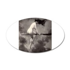 Victorian Risque Witch on Broomstick Wall Decal