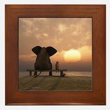 Elephant and Dog Friends Framed Tile