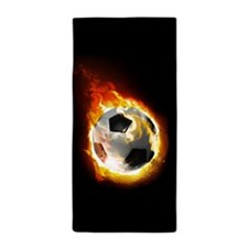 Soccer Fire Ball Beach Towel