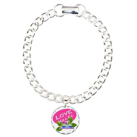 love haiti pink egg Charm Bracelet, One Charm