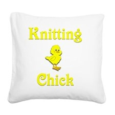 Knitting Chick Square Canvas Pillow