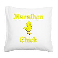 Marathon Chick Square Canvas Pillow