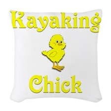 Kayaking Chick Woven Throw Pillow