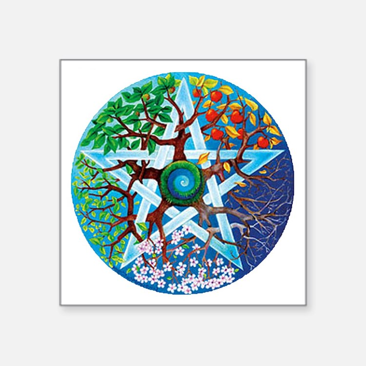 "2-20061229-pentacle-seasons Square Sticker 3"" x 3"""