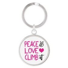 peace love climb pink Round Keychain