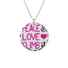 peace love climb pink Necklace