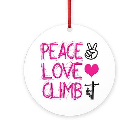 peace love climb pink Round Ornament