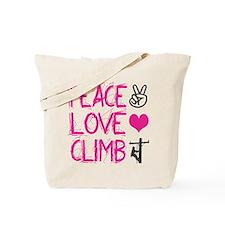 peace love climb pink Tote Bag