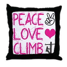 peace love climb pink Throw Pillow