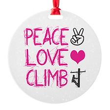 peace love climb pink Ornament