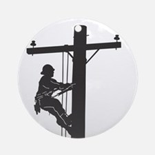 lineman profile on pole Round Ornament