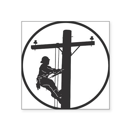 "lineman profile on pole Square Sticker 3"" x 3"""