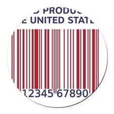 Barcode United States Round Car Magnet