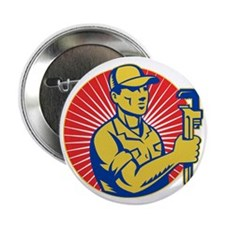 """plumber repairman holding pipe wrench 2.25"""" Button"""