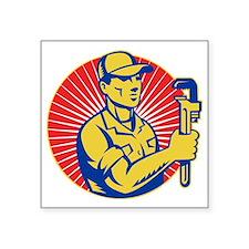 "plumber repairman holding p Square Sticker 3"" x 3"""
