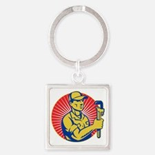 plumber repairman holding pipe wre Square Keychain