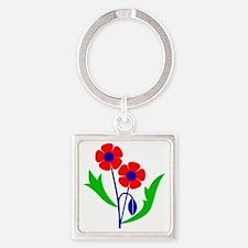 Poppy Square Keychain