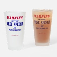 FreeSpeechWarning Drinking Glass