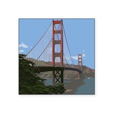 "Unique Golden gate bridge statues Square Sticker 3"" x 3"""