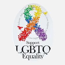 LGBTQ-Butterfly-Ribbon Oval Ornament